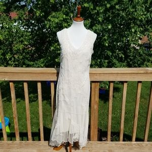 Newport News Ivory Beaded Sheath Mermaid Dress
